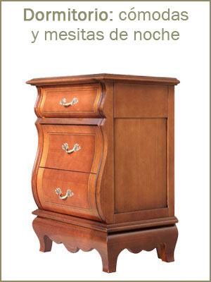 Mesita de dormitorio, mesilla de noche en madera con cajones, mesitas de noche estilo clásico