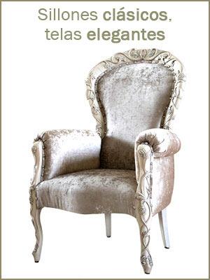Sillones clásicos acolchados, sillón tapizado estructura de madera maciza, sillón artesanal