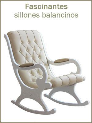 Sillones balancinos, sillones balancinos de madera con respaldo capitoné