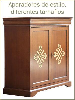 Aparadores de madera en estilo clásico, aparadores de diferentes tamaño, muebles de comedor, aparadores de salón
