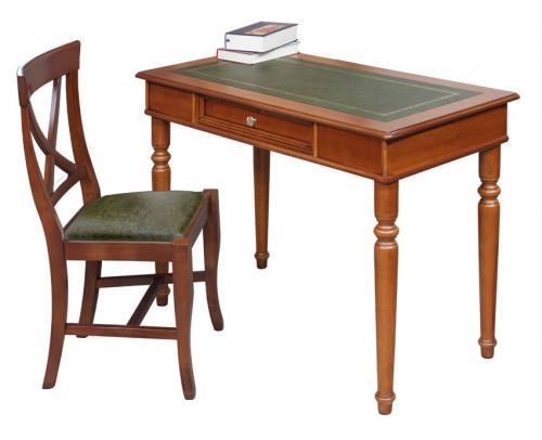 Mesa de despacho con cajón en madera y tablero en eco-cuero