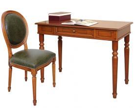 Mesa de despacho con silla acolchada cuero estilo clásico