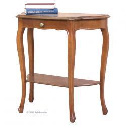 Consola en madera con cajón y estante inferior, consola de entrada, recibidor, mueble consola de madera