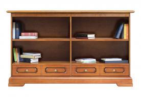 Librería baja doble, librería con cajones, estantería, libería doble