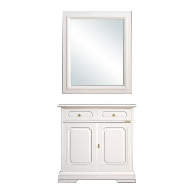 Aparador Para Fotos ~ Aparador y espejo laqueados blanco para recibidor
