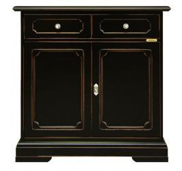Aparador pequeño 2 puertas y 1 cajón, aparador, mueble aparador negro