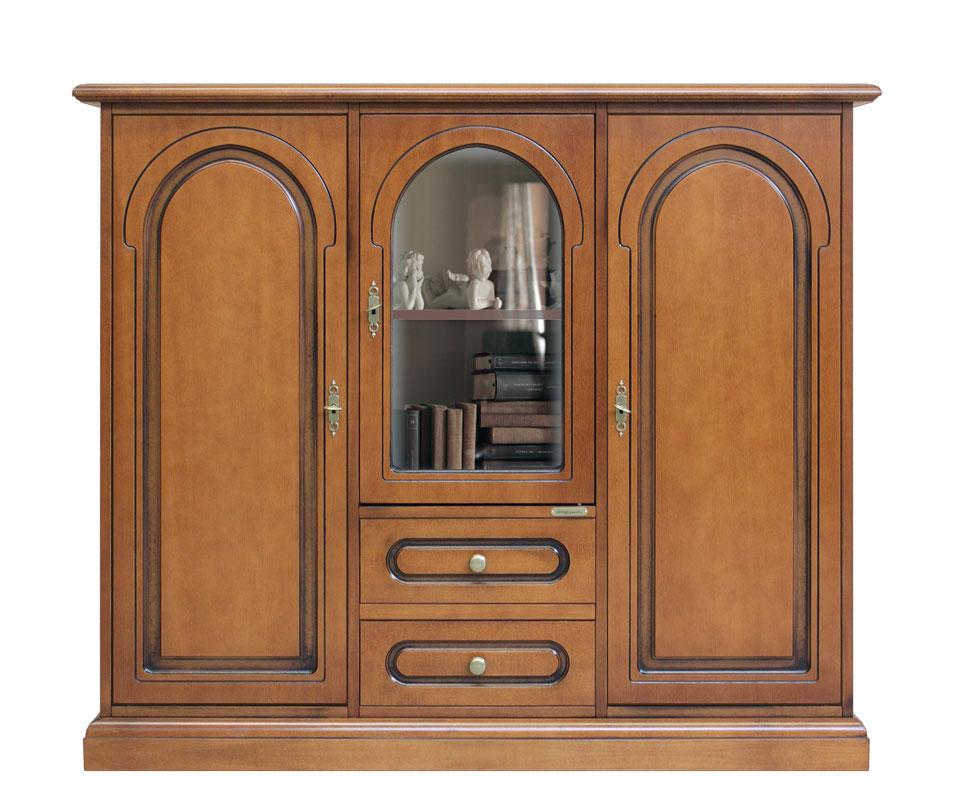 Aparador de madera estilo clásico con vitrina, mueble de comedor ...