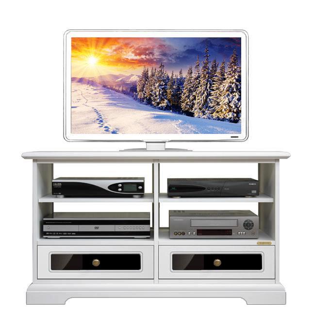 Mueble tv blanco y negro reflex en cajones prixdoo for Muebles blanco y negro
