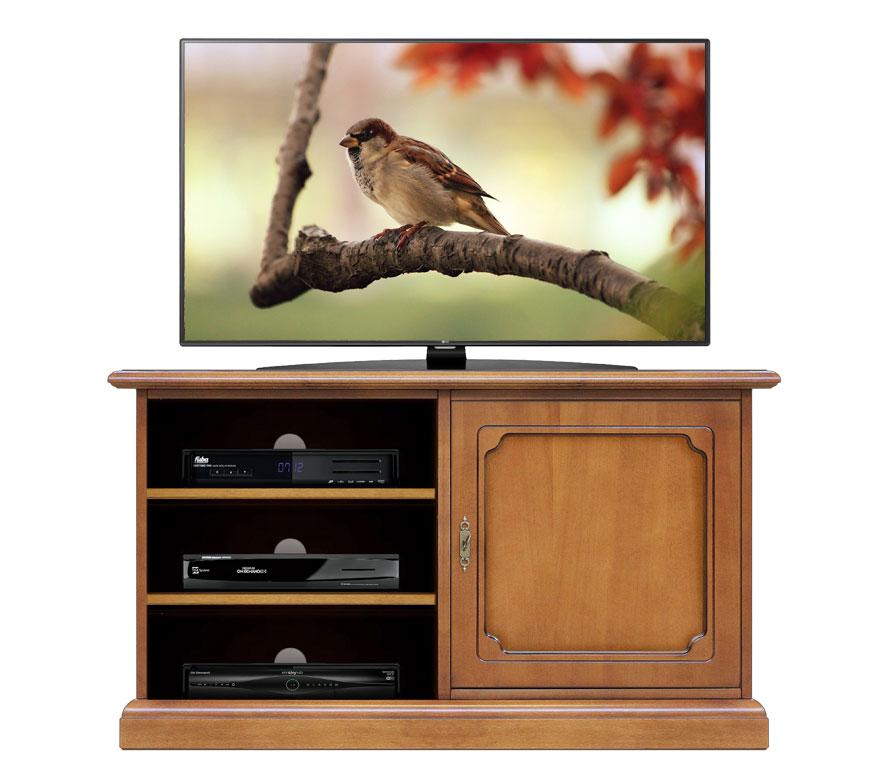 Mueble de tv en madera con vanos y puerta vitrina prixdoo for Mueble para tv con puertas