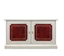 Aparador en madera blanca y puertas con cuero rojo