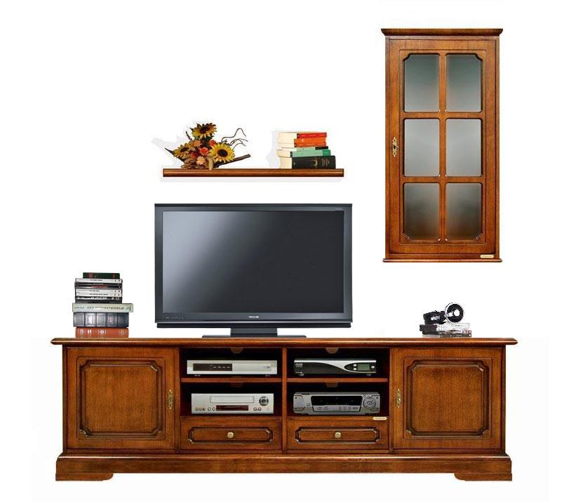 Mueble de pared para tv con vitrinas de pared estilo clasico Prixdoo