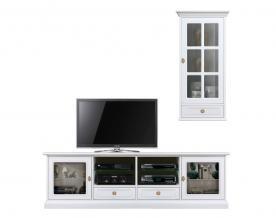 Mueble de pared de tv en madera blanca