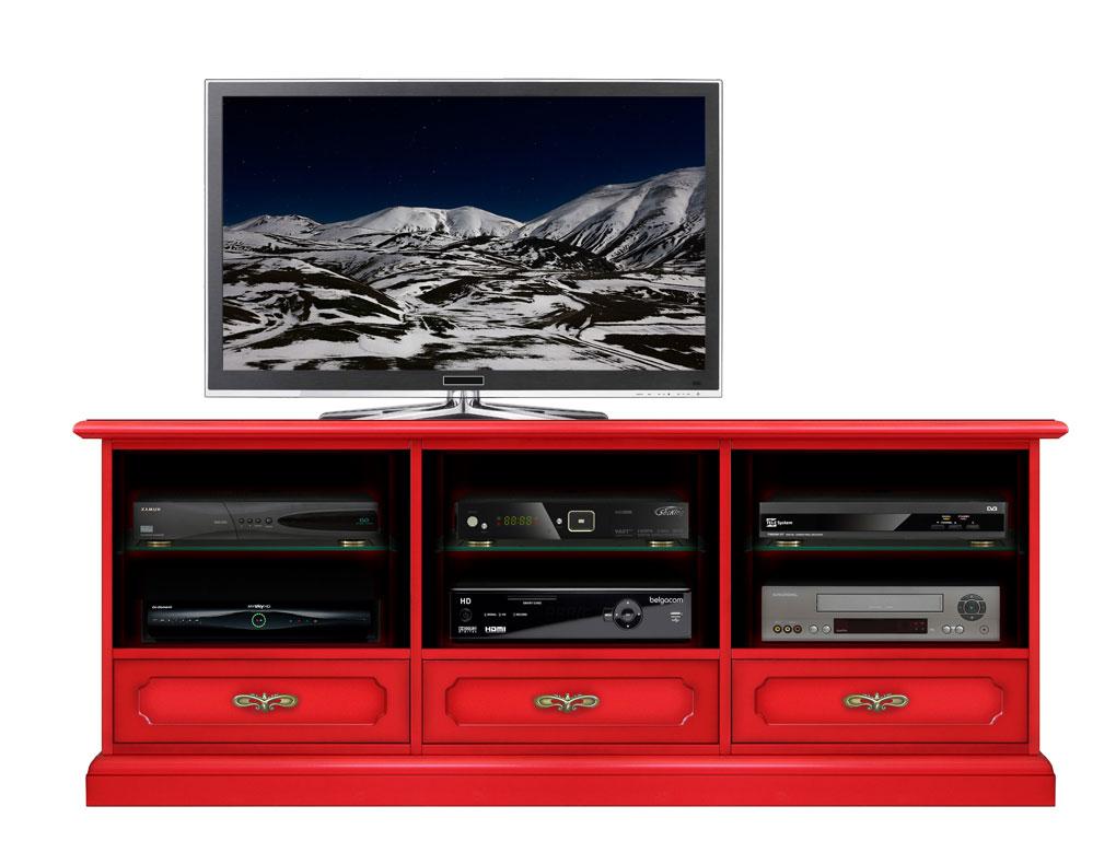Mueble Tv Rojo Tres Cajones Tres Vanos Red Klass Prixdoo -> Muebles Para Tv Modernos 2017