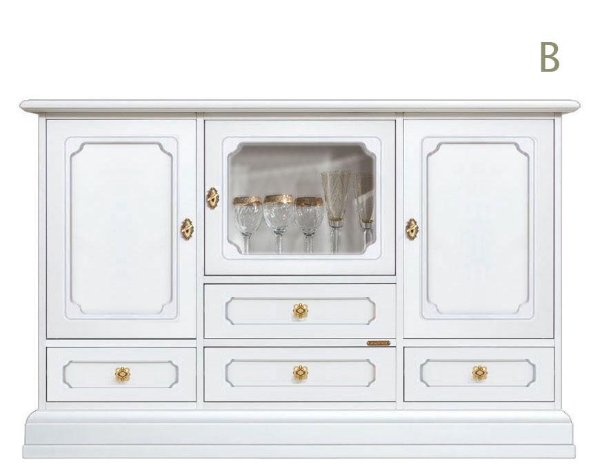 Aparador Blanco Laqueado ~ Aparador alto laqueado con vitrina central, puertas y cajones