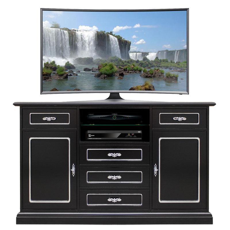 Mueble tv negro plata multifuncional black silver fashion for Mueble tv negro
