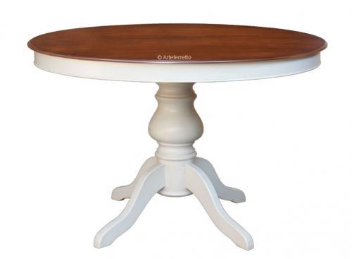 Mesa redonda bicolor en madera estilo clásico