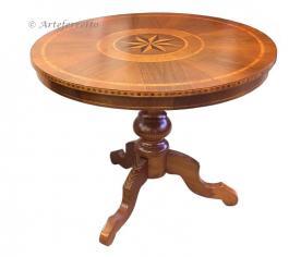 mesa redonda, mesa de comedor, mesa de madera, mesa con marqueterías