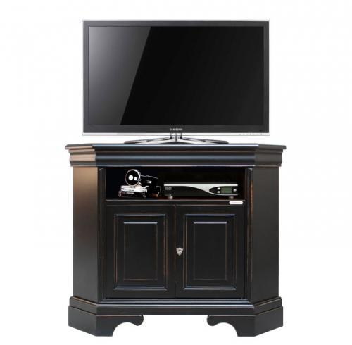 Mueble tv de esquina negro en madera