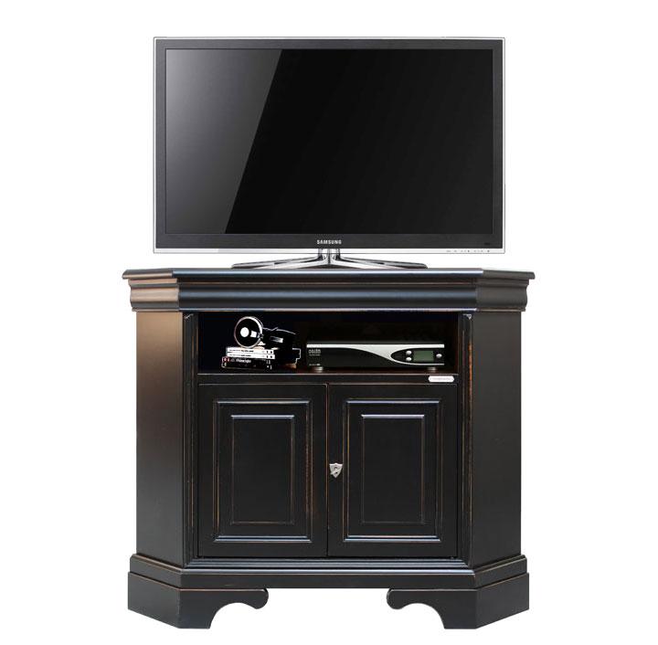 Mueble tv de esquina mueble de madera negro envejecido for Mueble tv esquina