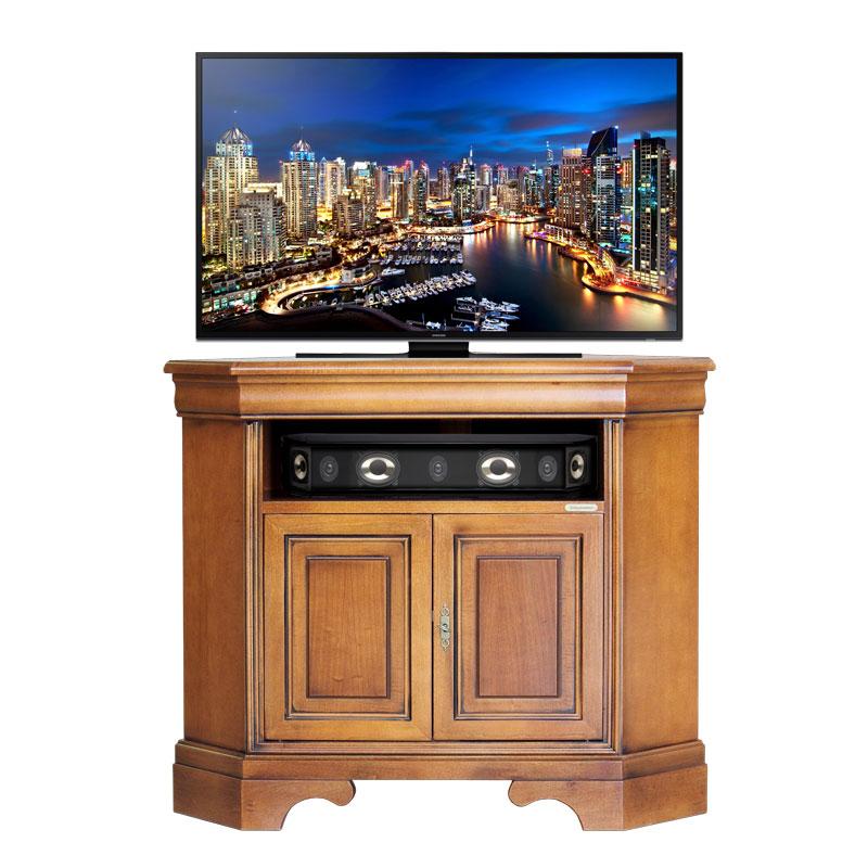 Mueble tv de esquina en madera vano y dos puertas prixdoo for Mueble tv esquina