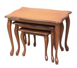 trío de mesas de salón, mesitas de madera, mesas bajas, mesas de apoyo, mesas de rincón