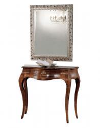 Composición de entrada consola y espejo en madera