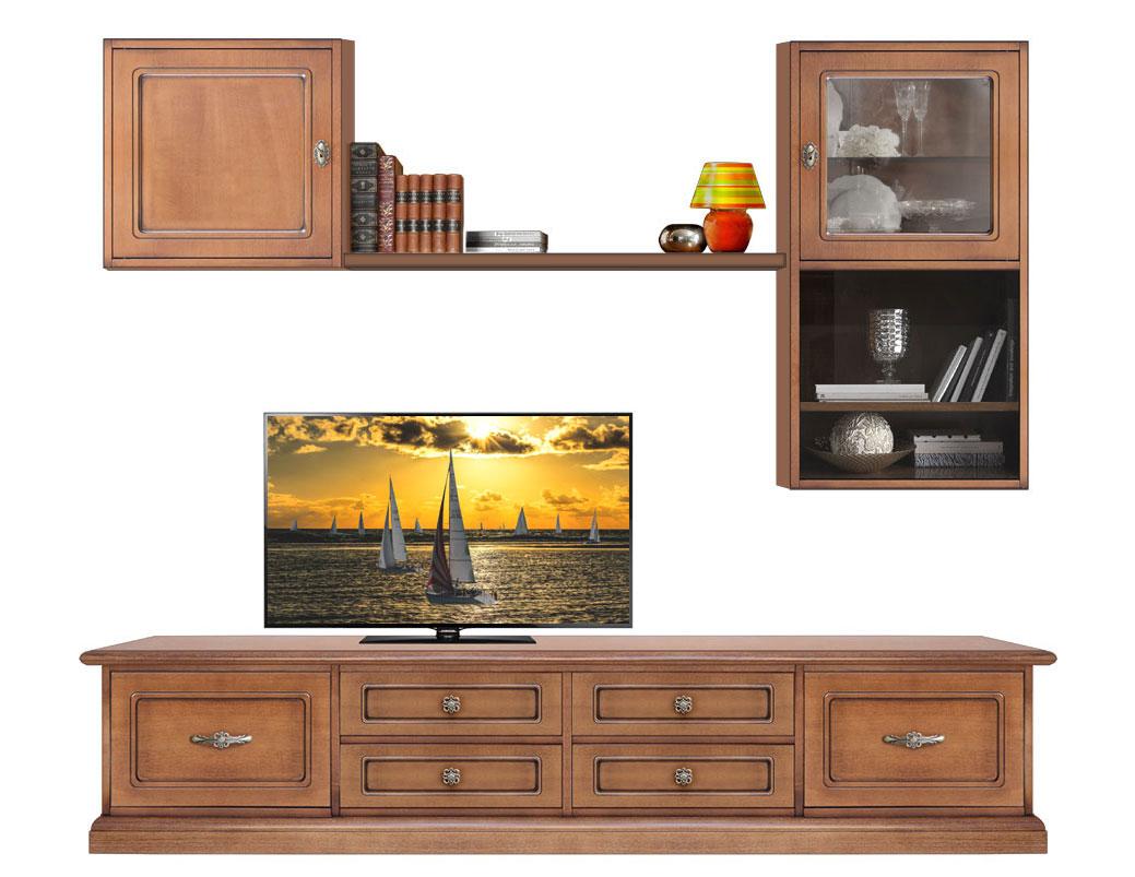 Mueble de pared estilo cl sico mueble tv y vitrinas de - Mueble tv pared ...