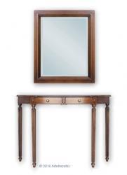 mesa consola con espejo, mueble de recibidor, mueble clásico, mesa de recibidor, consola media luna, Arteferretto