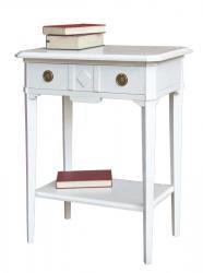 Consola barnizada blanca rectangular con cajon y estante inferior