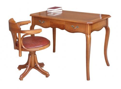 mesa de despacho en madera de cerezo, escritorio de oficina, mueble de oficina, escritorio de madera, mesa de despacho con dos cajones