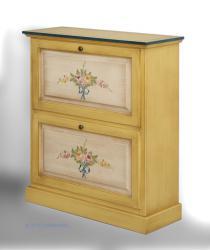 mueble zapatero, mueble con decoraciones, mueble amarillo, mueble de madera, zapatero amarillo, zapatero con flores, zapatero decorado, Arteferretto