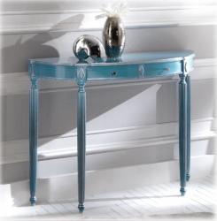 consola azul y plata, consola azul, mesa consola, consola de recibidor