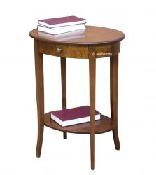 Mesa de centro alta ovalada con cajón