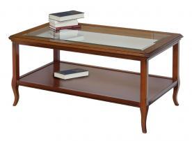 mesa de centro rectangular, mesita de centro, mesita de salón, mesa de centro en madera, mesita con tablero en vidrio, mesa de centro estilo clásico,mueble Arteferretto