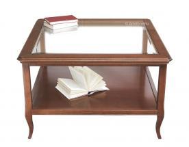 Mesa de centro tablero cristal cuadrado en madera