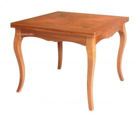 Mesa cuadrada con marqueterías en madera de nogal