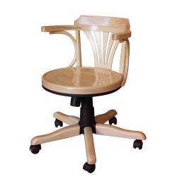 sillón giratorio de oficina, silla giratoria de madera, silla de haya, sillón de madera, sillón giratorio