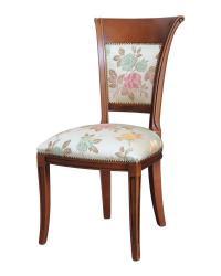 Silla estilo clásico en madera respaldo y asiento acolchados y tapizados