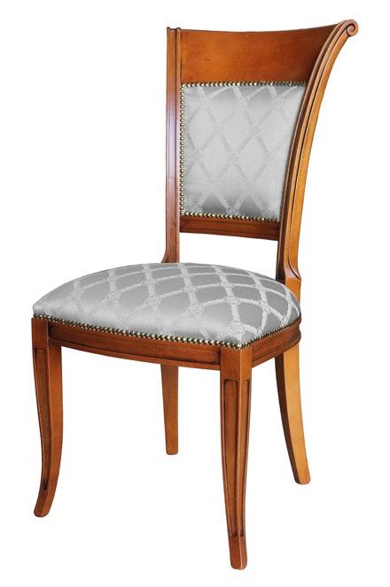 Silla estilo clásico en madera respaldo acolchado para salón o cocina