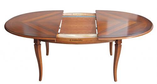 Mesa ovalada con marqueterías de artesanado 160-210 cm