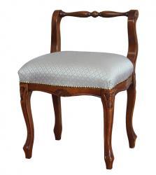 Taburete con respaldo en madera y asiento acolchado