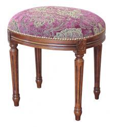 Taburete ovalado de dormitorio en madera y asiento acolchado