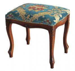 Taburete estilo 1700 de madera y asiento tapizado