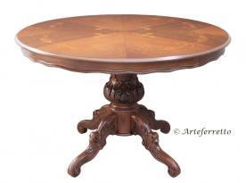Mesa redonda con marquetería en madera pata central
