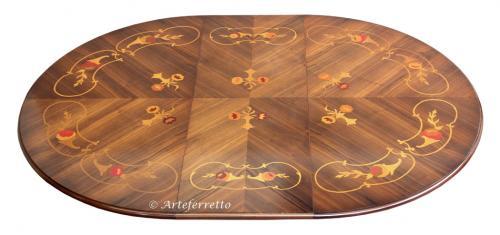 Mesa redonda con marquetería extensible