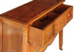mesa consola de madera, mesa consola de recibidor, consola estilo clásico, mesa consola 2 cajones