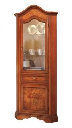 mueble vitrina de esquina, mueble de salón, vitrina estilo clásico, mueble artesanal, mueble de Arteferretto