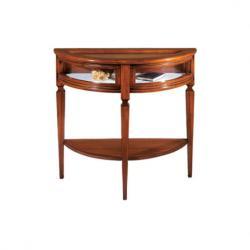 Consola vitrina en estilo clasico de madera maciza y de artesanado italiano