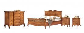 Dormitorio completo en madera maciza y tallas estilo clasico