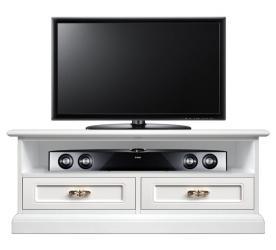 Mueble tv bajo dos cajones barnizado blanco